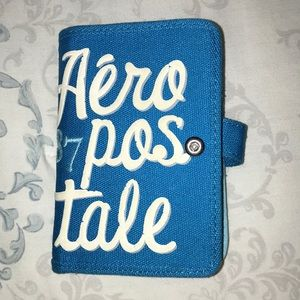 Blue and white Aéropostale wallet